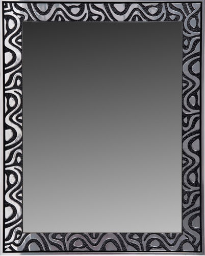Espejo decorativo pared 0001 negro - plata 96 x 75
